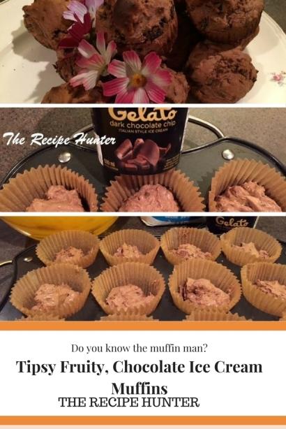 Tipsy Fruity, Chocolate Ice Cream Muffins