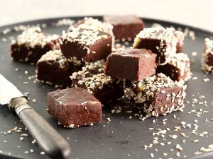 Coconut-covered chocolate fudge
