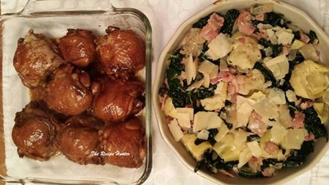 Baked Glazed Teriyaki Chicken Wings with Artichoke, Bacon and Kale with shaved Parmesan