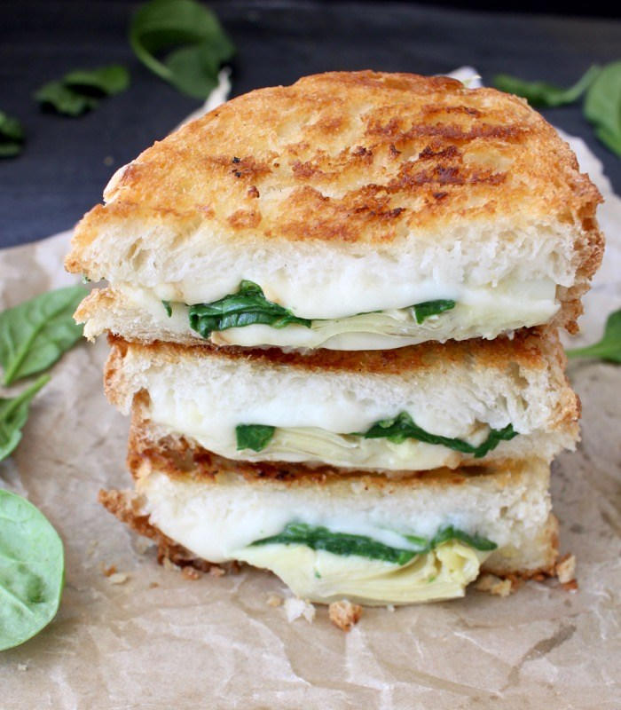 SPINACH ARTICHOKE GRILLED CHEESE PANINI