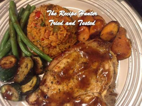 TRH Gail's Grilled Pork loin chops, Chorizo brown rice, gravy and sautéd vegetables