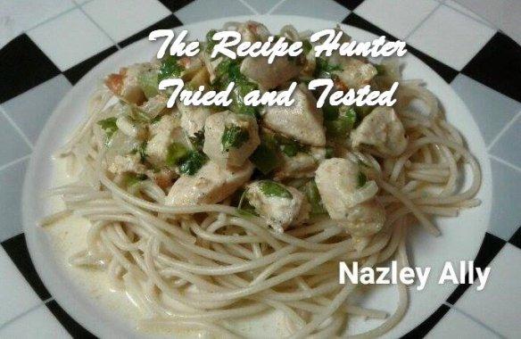 TRH Nazley's Creamy Chicken served with Spaghetti