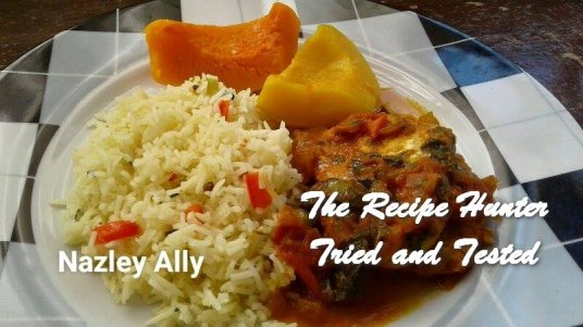 TRH Nazley's Fish Curry served with pulaw rice and steamed squash