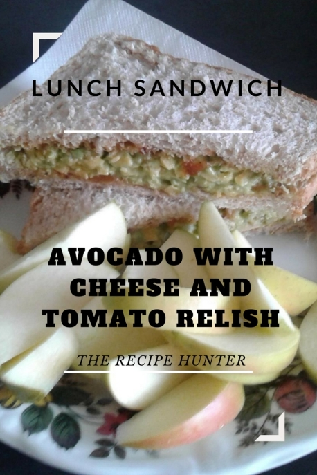 Avocado with Cheese and Tomato Relish Sandwich