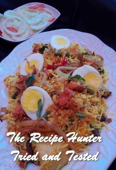 Rashida's Chicken Strips Cubed and Prawn with Mediterranean Rice