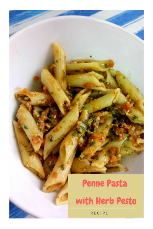 Penne Pasta with Herb Pesto.