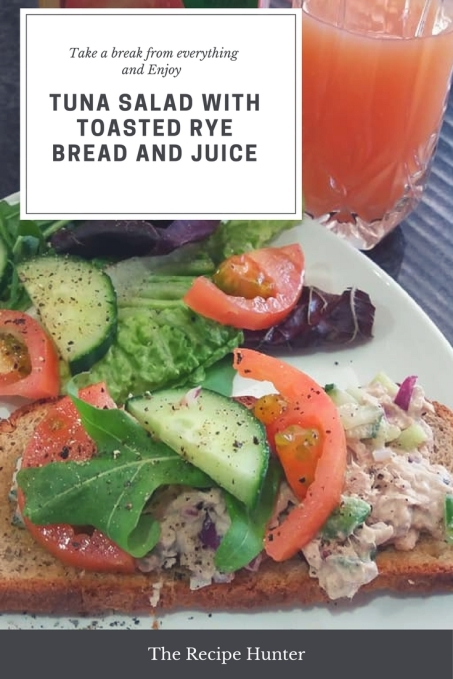 Tuna Salad with Toasted Rye Bread and Juice
