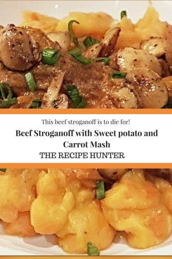 Beef Stroganoff with Sweet potato and Carrot Mash