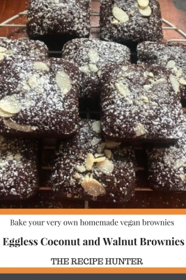Eggless Coconut and Walnut Brownies