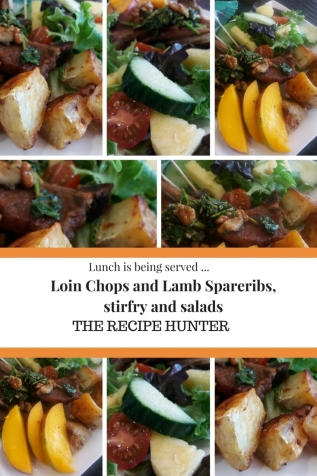 Loin Chops and Lamb Spareribs, stirfry and salads