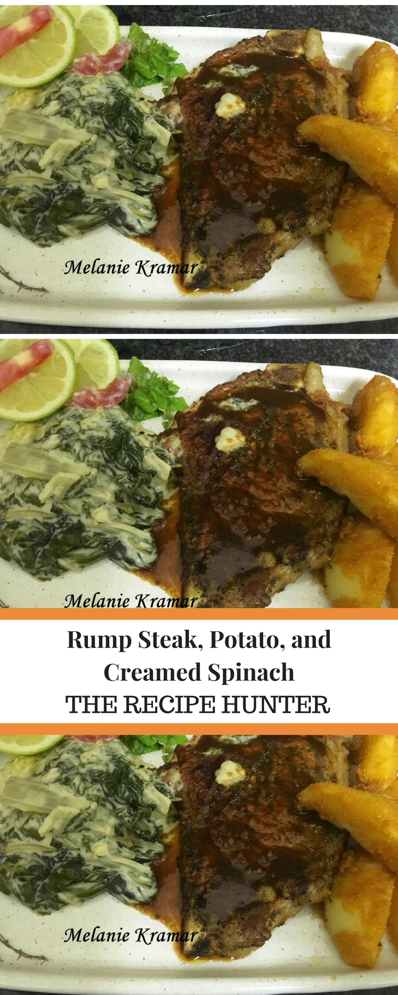 Rump Steak, Potato, and Creamed Spinach