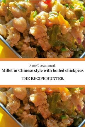 Millet in Chinese style with boiled chickpeas